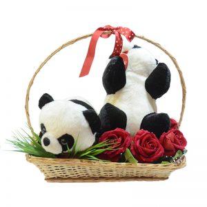 Pareja de pandas en canasta
